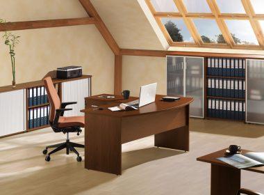 Meble biurowe biurko gabinetowe na podstawie z płyty